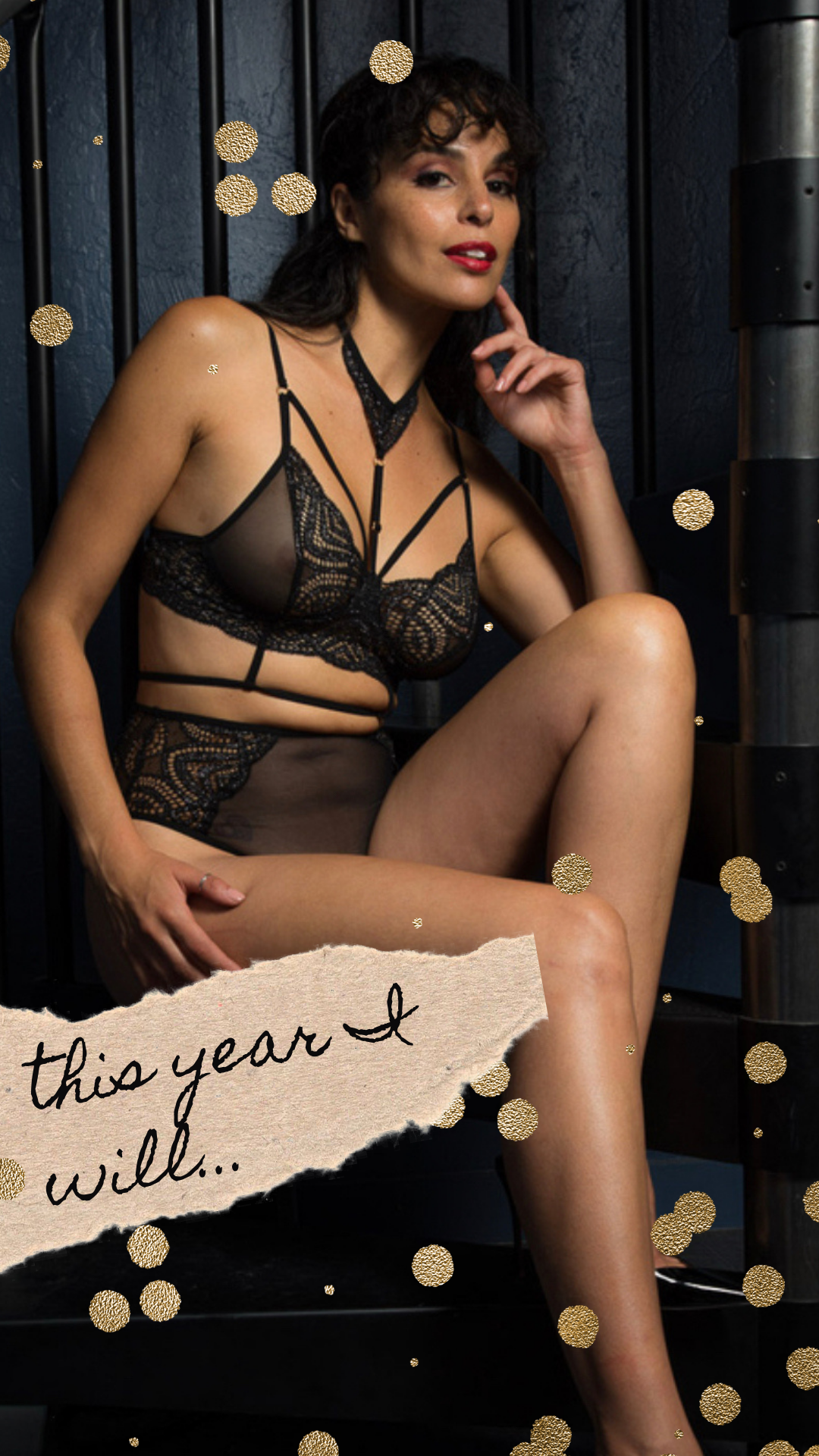 lingerie, set, black, sexy, new year