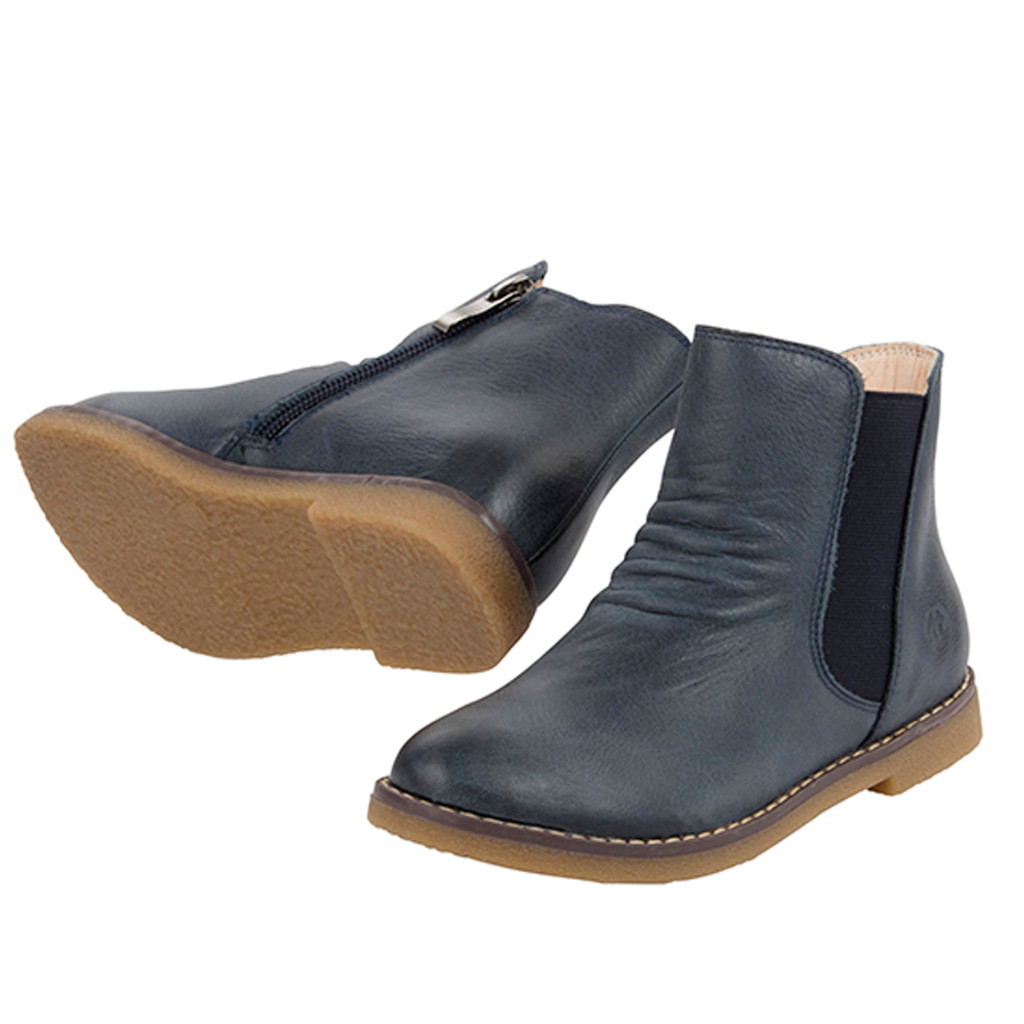 Sacha Girls Leather Ankle Boot - Navy