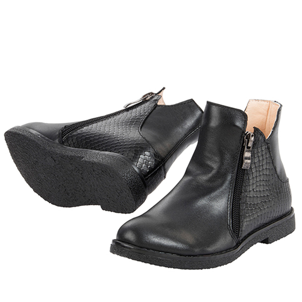 Maree Girls Leather Ankle Boot - Black