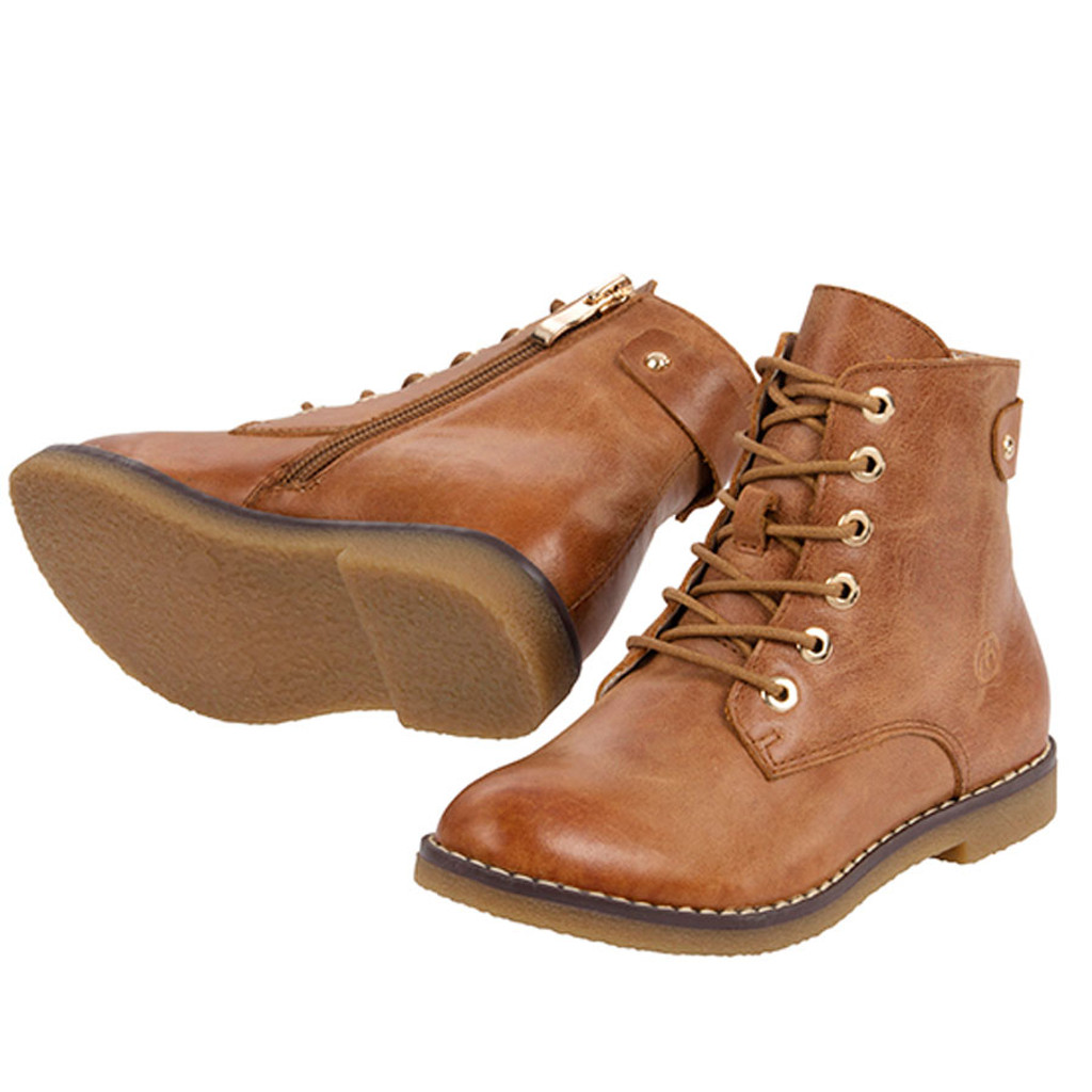 Jan Girls Ankle Leather Boot - Tan
