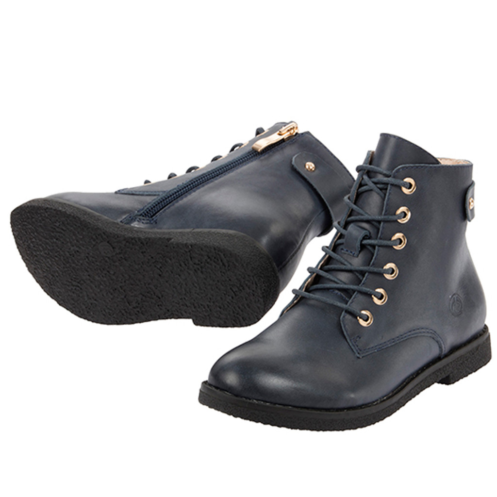 Jan Girls Ankle Leather Boot - Navy