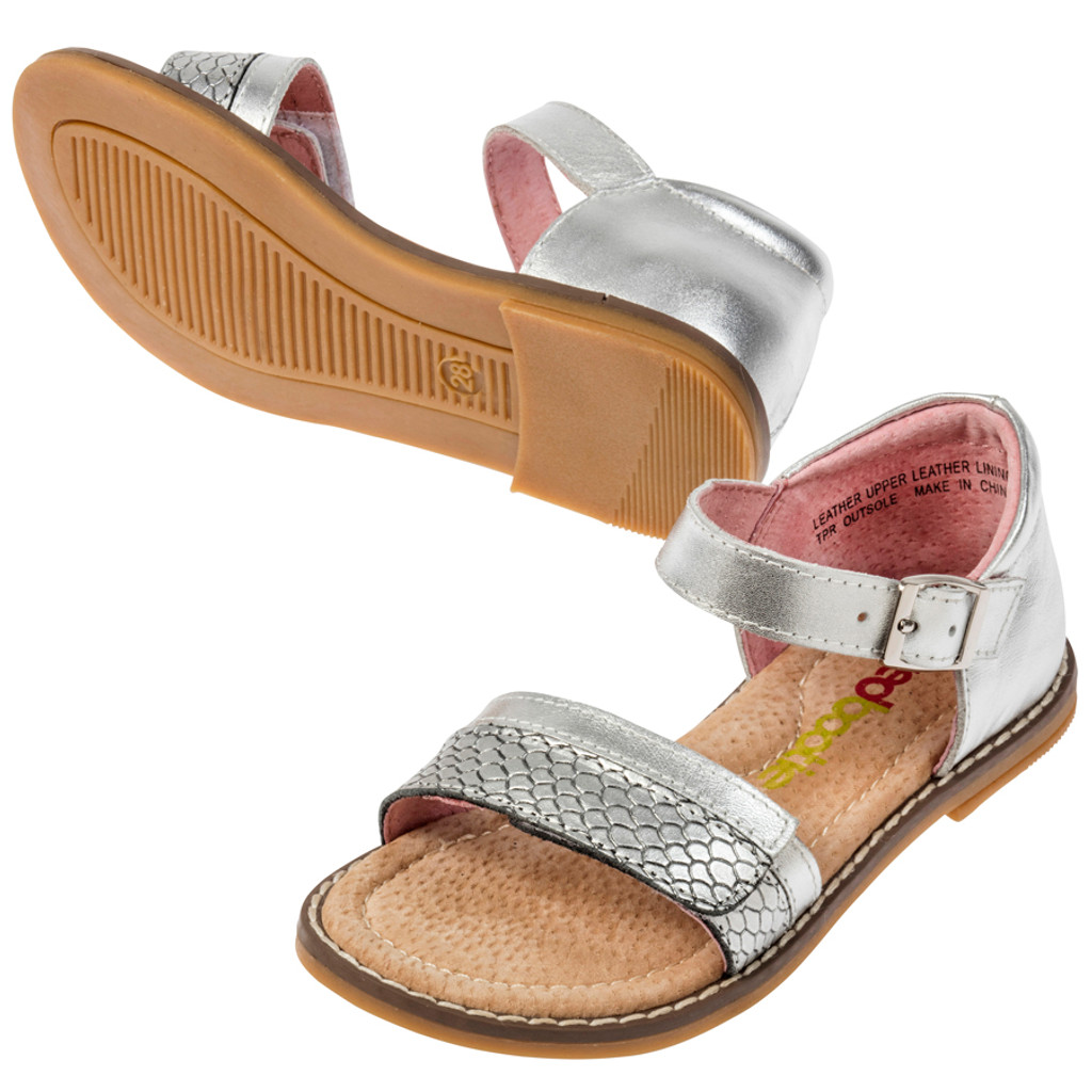 Klava Girls Leather Sandal - Silver