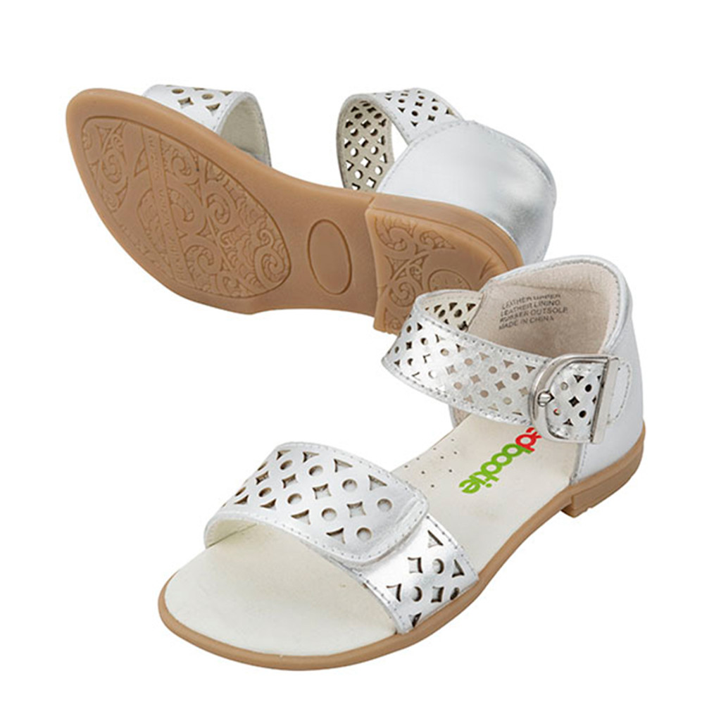 Isla Girls Leather Sandal  - Silver