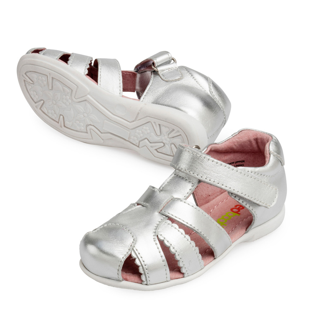 Chantelle Girls Closed Toe Leather Sandal - SIlver