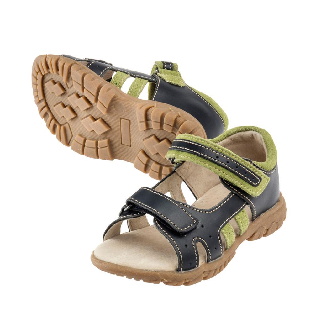 Nate Boys Leather Open Toe Sandal  Navy/Green