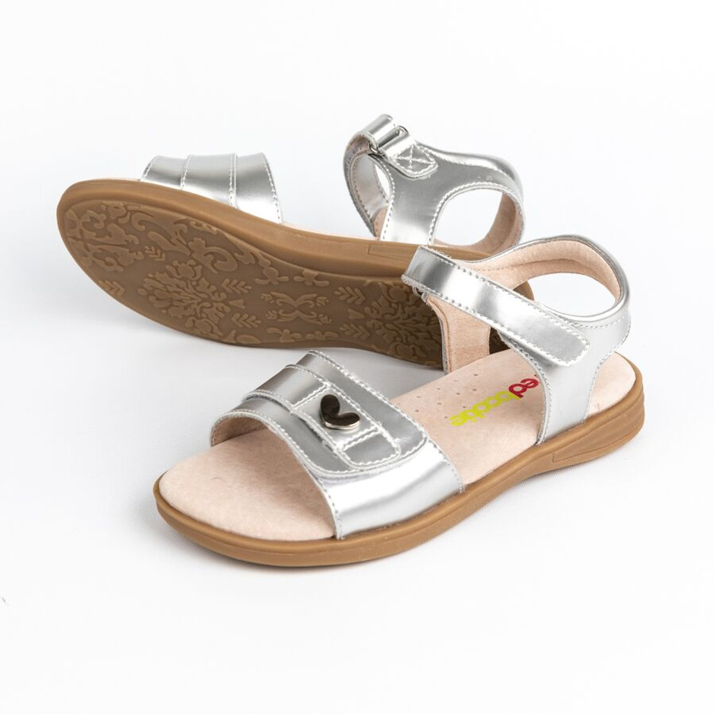 Emma  Patent Leather Girls Adjustable Sandal - Silver