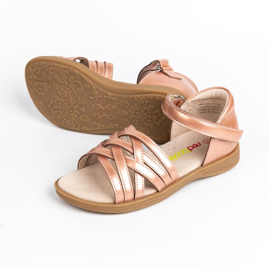 Izzy Girls Patent Leather Adjustable  Sandal - Peach