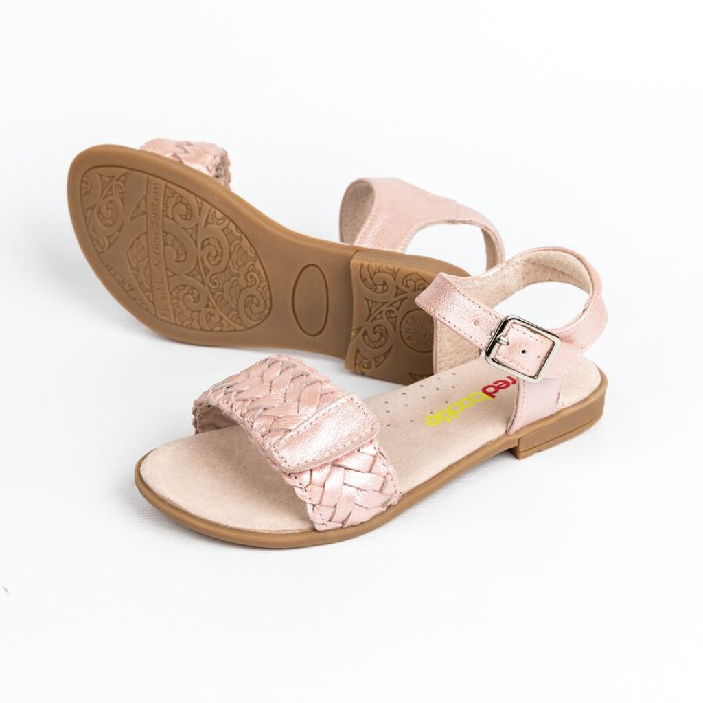 Lily Girls Adjustable Leather Sandal - Ice Pink