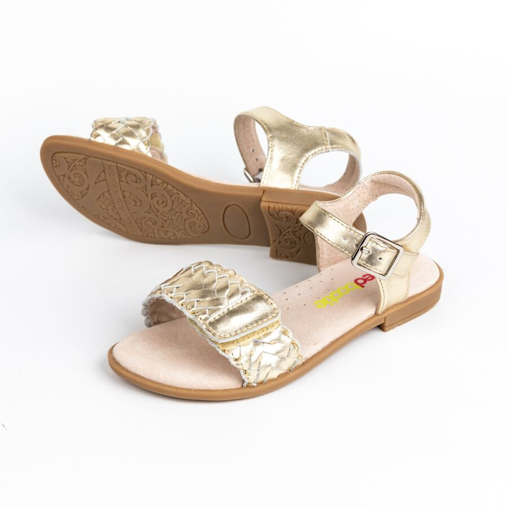 Lily Girls Adjustable Leather Sandal - Gold