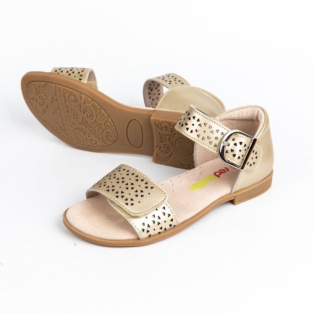 Lucy Ellen Girls adjustable Leather Sandal with Heel Counter - Bronze