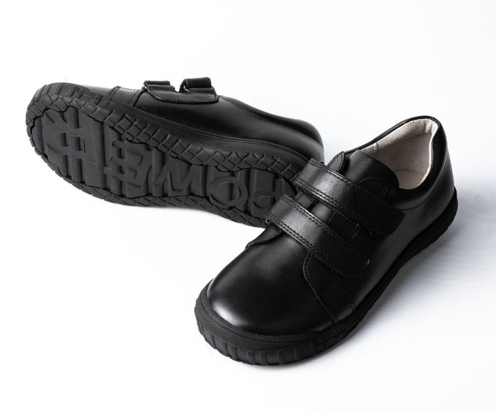 NELSON Leather Velcro School Shoe - Black