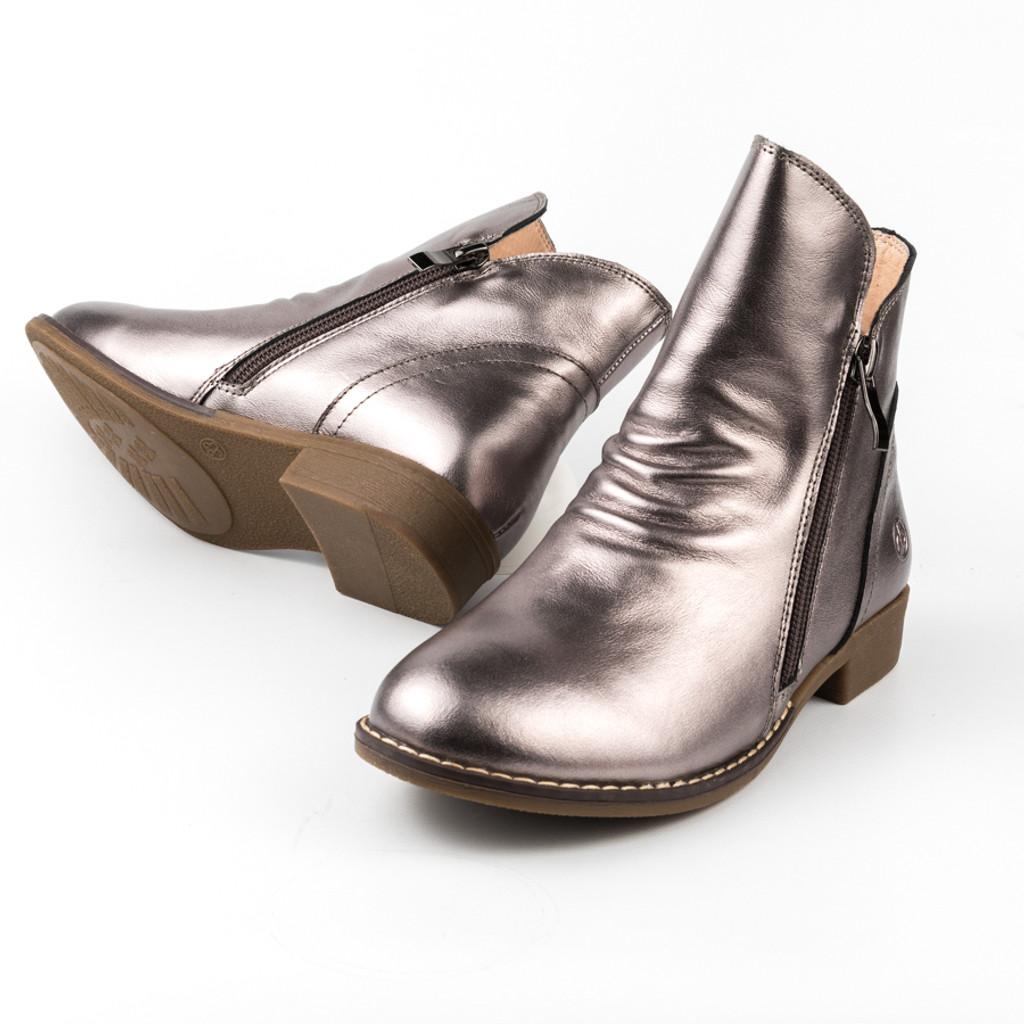 Ava Girls leather Double zip boot - Bronze