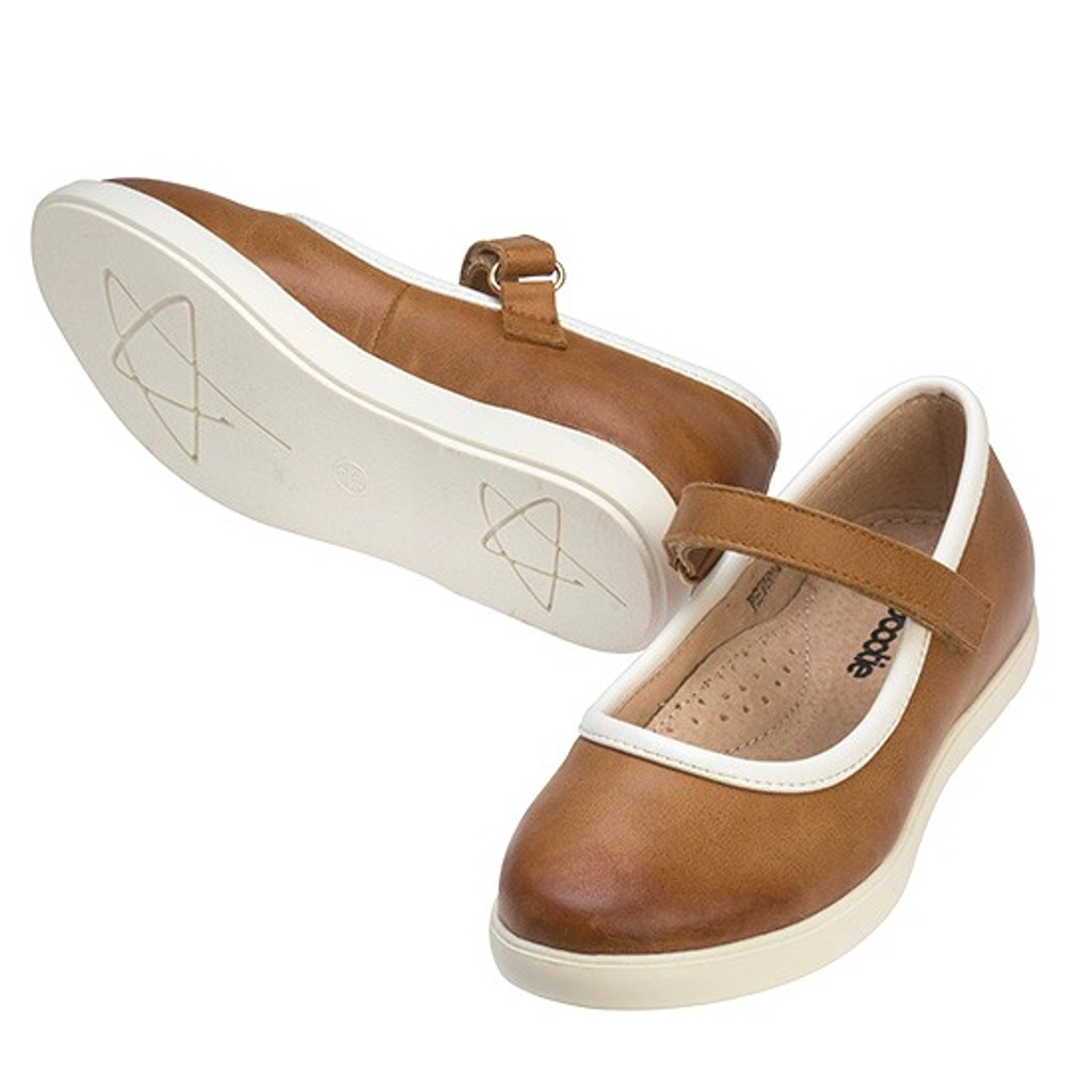 PETUNA  Girls leather Maryjane -  Tan