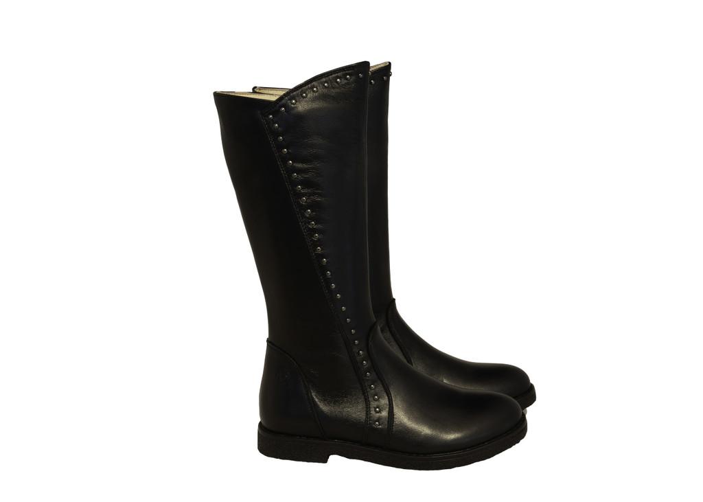 LILILAN  - Girls Long leather Boot - Black