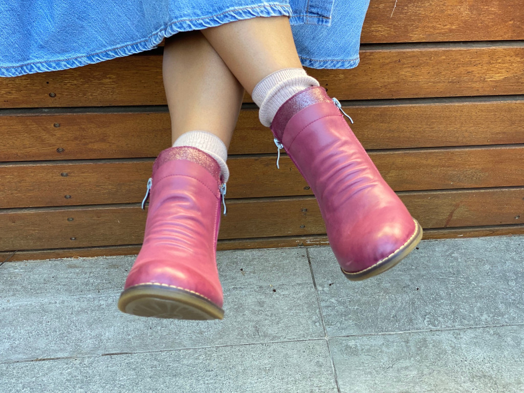 HOPE Girls Leather Ankle Boot - Fuschia