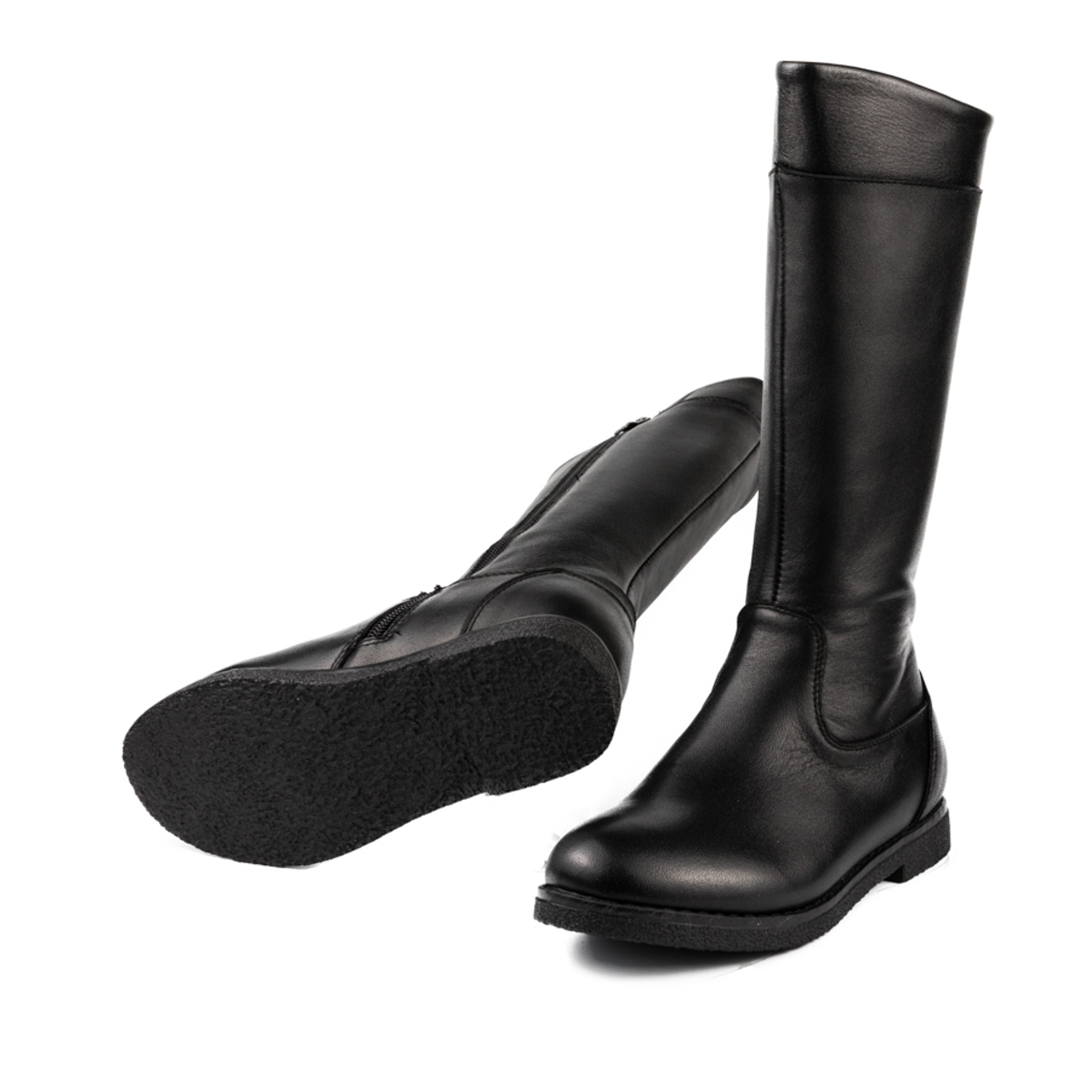 Elizabeth - Girls Long Leather Boot - Black