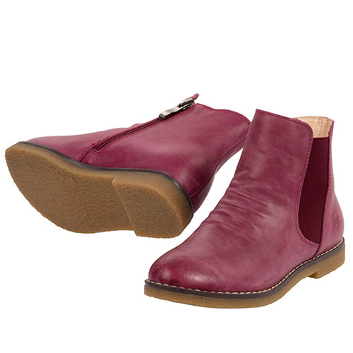 Sacha Girls leather ankle boot -Fuschia