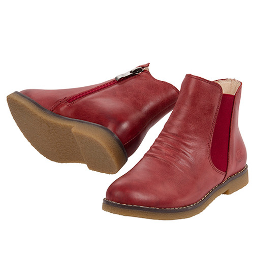 Sacha Girls Leather Ankle Boot - Red