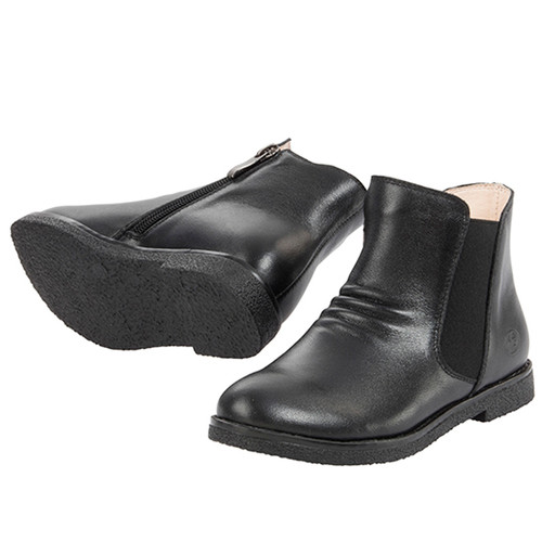 Sacha Girls Leather Ankle Boot - Black