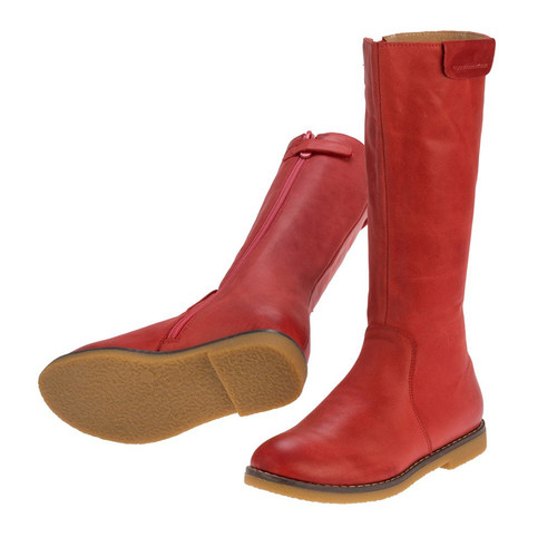 Lucy Girls Long Leather Boot - Red