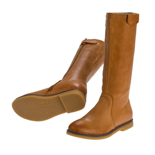 Lucy Girls Long Leather Boot - Tan