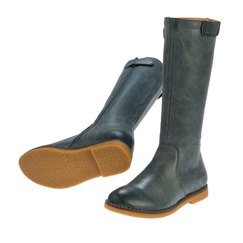 Lucy Girls Long Leather Boot - Slate Blue