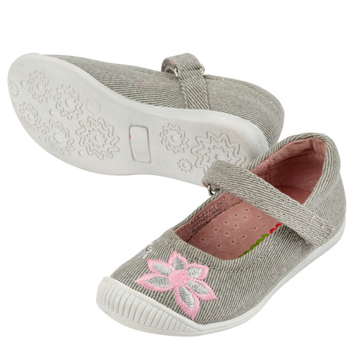 Deanna Girls Canvas Maryjane - Silver