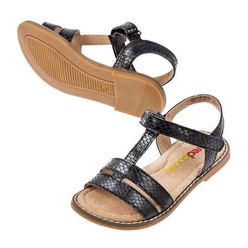 Verity Girls Leather Sandal - Black