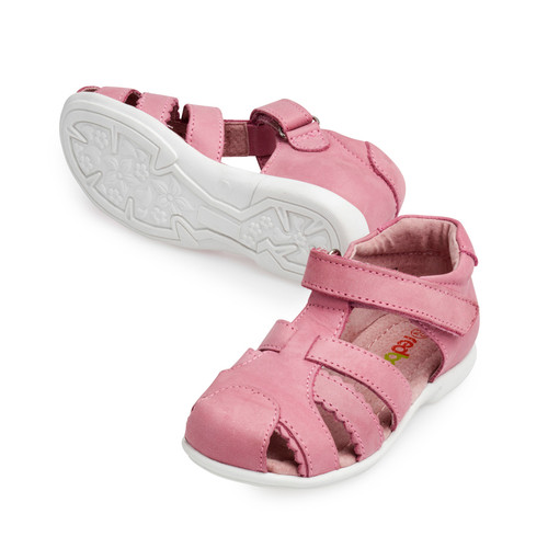 Chantelle Girls Closed Toe Leather Sandal - Pink