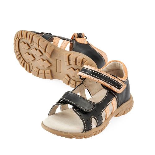 Nate Boys Leather Open Toe Sandal - Black/Orange