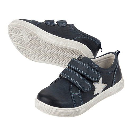 Toby Boys Leather Casual Shoe - Navy