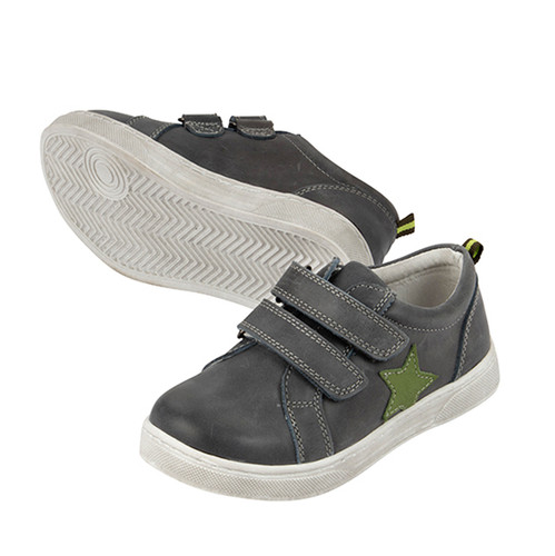 Toby Boys Leather Casual Shoe - Charcoal