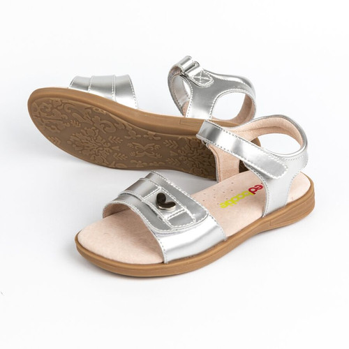 Emma  Patent Leather Girls Adjustable Sandal - Silver