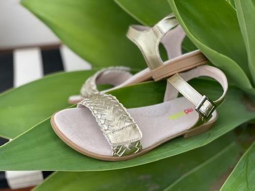Lily Girls Adjustable Leather Sandal - Gold