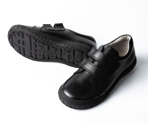 NELSON Leather Velcro School Shoe - Black