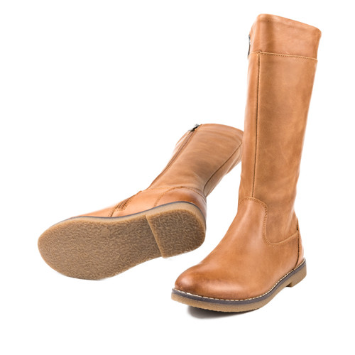 ELIZABETH - Girls Long  Leather Boot - Tan