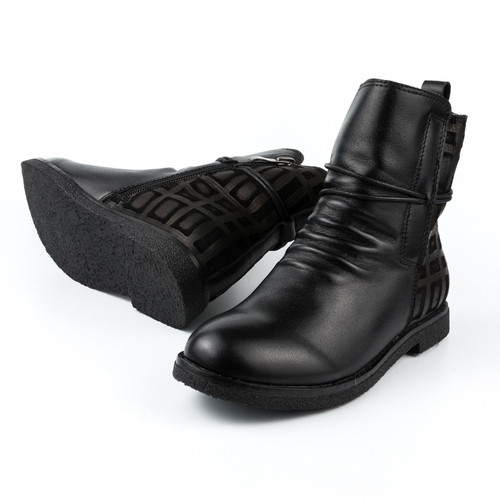 Lilibeth  Girls Ankle Leather boot -Black