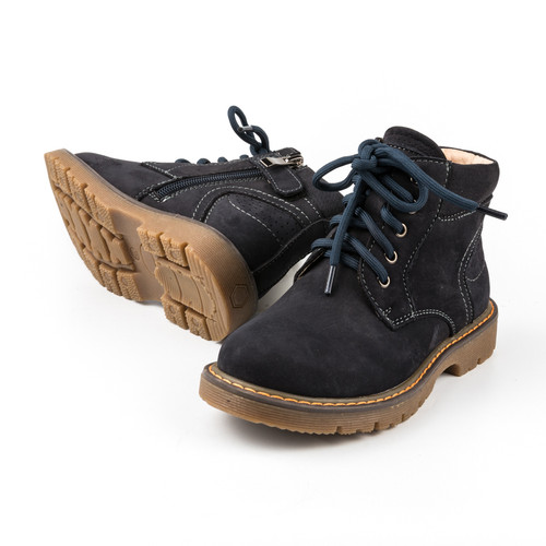 Rocco boys leather boot - Navy