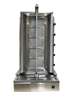 Shawarma Machine- Gyro Machine-Tacos al Pastor Machine- Doner Machine- Commercial Vertical Broiler 5 Burners by Spinning Grillers New York.