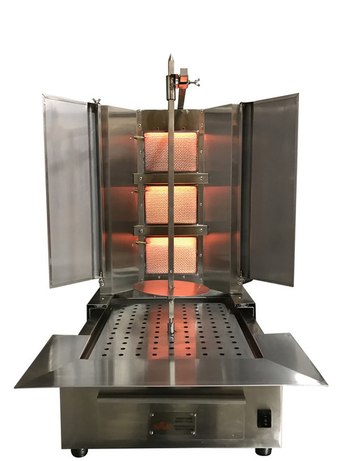 Shawarma Machine- Gyro Machine-Tacos al Pastor Machine- Doner Machine- Commercial Vertical Broiler 3 Burners by Spinning Grillers New York. Model SGN4- 3 Burners- Energy Saver Commercial Quality- New for 2017