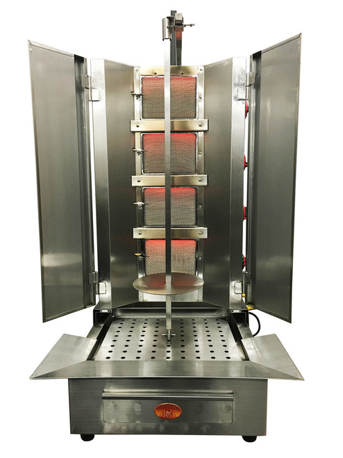 Shawarma Machine- Gyro Machine-Tacos al Pastor Machine- Doner Machine- Commercial Vertical Broiler 4 Burners by Spinning Grillers New York. Model SGN6- 4 Burners- Energy Saver Commercial Quality- New for 2017