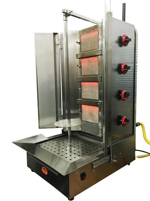 Shawarma Machine- Gyro Machine-Tacos al Pastor Machine- Doner Machine- Commerical Vertical Broiler 4 Burners by Spinning Grillers New York. Model SGN6- 4 Burners- Energy Saver Commercial Quality- New for 2017