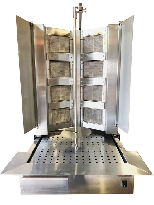 Shawarma Machine- Gyro Machine-Tacos al Pastor Machine- Doner Kebab Machine- Commercial Vertical Broiler 8 Burners by Spinning Grillers New York. Model SGN10- 8 Burners- Energy Saver Commercial Quality- New for 2019