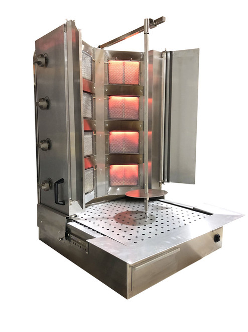 Shawarma Machine- Gyro Machine-Tacos al Pastor Machine- Doner Machine- Commercial Vertical Broiler 4 Burners by Spinning Grillers New York. Model SGN10- 8 Burners- Energy Saver Commercial Quality- New for 2019