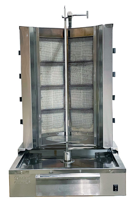 Shawarma Machine- Gyro Machine-Tacos al Pastor Machine- Doner Machine- Commercial Vertical Broiler 8 Burners by Spinning Grillers New York. Model SGN8-VG8.   Energy Saver Commercial Quality.