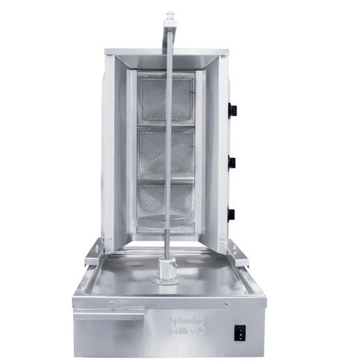 Shawarma Machine- Gyro Machine-Tacos al Pastor Machine- Doner Machine- Commercial Vertical Broiler 3 Burners by Spinning Grillers New York. Model SGN4-C3.   Energy Saver Commercial Quality.