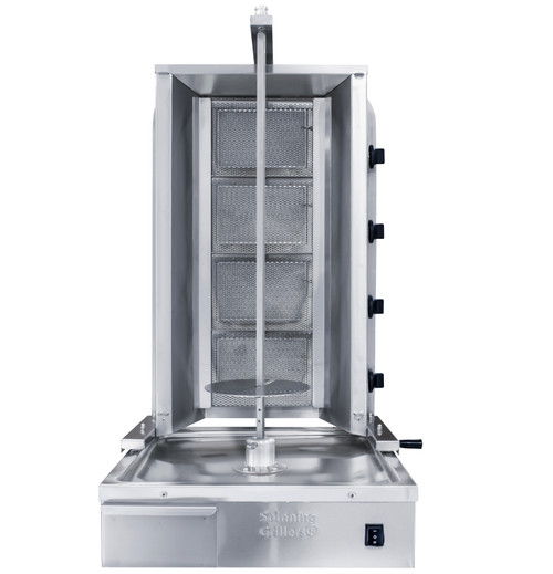 Shawarma Machine- Gyro Machine-Tacos al Pastor Machine- Doner Machine- Commercial Vertical Broiler 4 Burners by Spinning Grillers New York. Model SGN6-C4.   Energy Saver Commercial Quality.