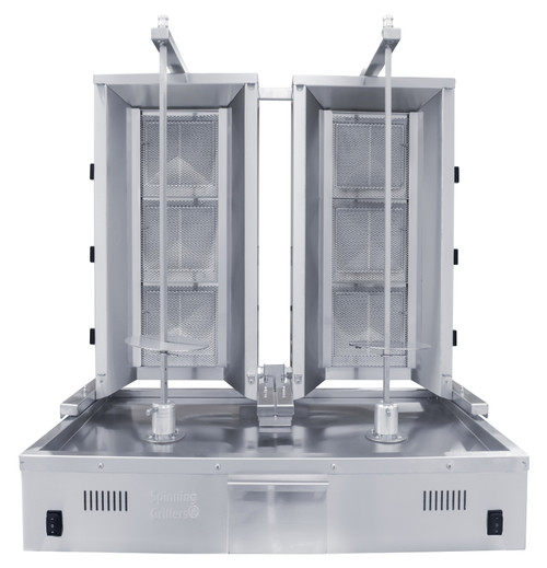 Duel Shawarma Machine- Gyro Machine-Tacos al Pastor Machine- Doner Machine- 2 Commercial Vertical Broilers of 3 Burners each by Spinning Grillers New York. Model SGN4-C33.   Space Saver Commercial Quality.