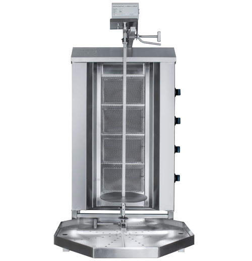 Shawarma Machine- Gyro Machine-Tacos al Pastor Machine- Doner Machine- Commercial Vertical Broiler 4 Burners with Top Motor by Spinning Grillers New York. Model SGN6-UG4.   Space Saver Commercial Quality.