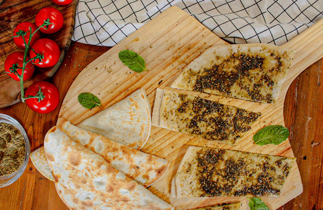 Zaatar And Cheese Saj Bread